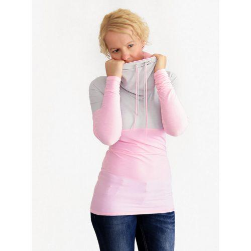 Baby Pink Extra Long Cowl Neck Sweatshirt